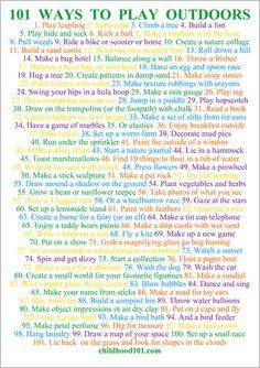 101 Ways to Have Fun Outdoors Printable Poster via Childhood 101
