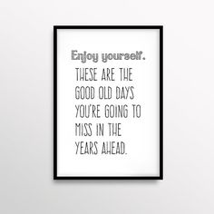 Inspirational Art Digital Print Enjoy Yourself Art Scandinavian Print Typography Art