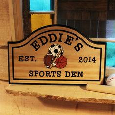 Personalized Large Wood Sports Den Hand Carved Wall Sign $59.95