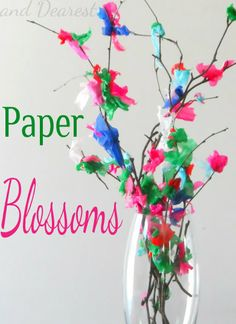 Stick and Tissue Paper Blossoms perfect for Mothers Day