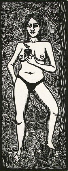 Eva, 2000, linocut by Artemio Rodriguez