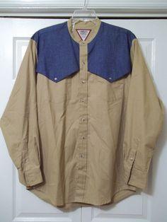 ROPER COWBOYS TURTLE WESTERN SHIRT LONG SLEEVE -TAN/DENIM - SIZE XL -100% Cotton #ROPERCowboysTurtle #Western