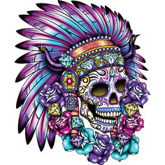Buy the Sugar Skull With Head Dress stock transfer to create eye catching T-shirt designs. Sugar Skull Mädchen, Sugar Skull Nails, Sugar Skull Design, Sugar Skull Tattoos, Badass Tattoos, Body Art Tattoos, Los Muertos Tattoo, Headdress Tattoo, Crane
