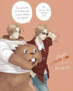 """Happy Canada Day! [APH] by RavenMushroom.deviantart.com on @deviantART - Matthew and his 2P counterpart. And I'm definitely loving the beaver mascot costume! Mostly because of this scene from """"Bon Cop, Bad Cop"""" where one of the bad guys tries to disguise himself that way: http://www.youtube.com/watch?v=rgeNwQ3aOHA"""