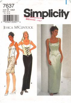 Size 4 6 8 Bust 29.5 30.5 31.5; Misses Top and Skirt; Simplicity 7637 Jessica McClintock; Evening Gown Special Occasion Sewing Pattern by AffordablePatterns