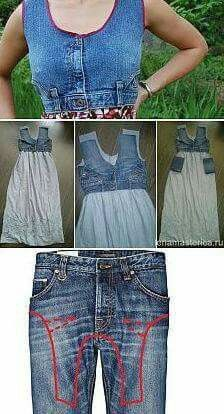 Upcycled sundress from a pair of jeans