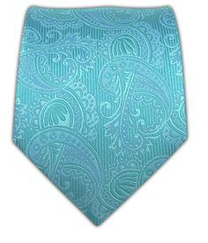 A tie for Richard - Twill Paisley - Aqua/Pool