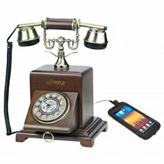 Pyle Retro Home Telephone For iPhone, iPod, Android, Blackberry, All 3.5mm Cell Phones Works with your telephone both land line and your smartphone, including iPhone, Android, and BlackBerry.   See free shipping deals at my favorite site  http://www.estorebest.com