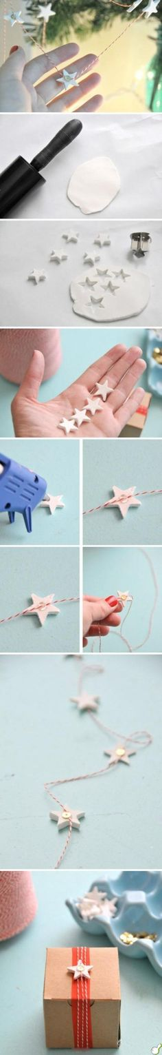 DIY Star Wrap diy craft crafts craft ideas christmas easy crafts diy ideas diy crafts easy diy diy gift wrap christmas crafts christmas craft gift crafts christmas diy decor Could make as garland? Noel Christmas, Winter Christmas, All Things Christmas, Christmas Ornaments, Clay Christmas Decorations, Clay Ornaments, Christmas Projects, Holiday Crafts, Holiday Fun