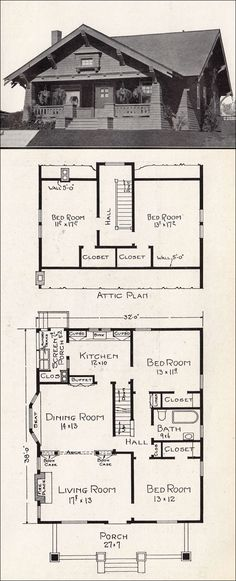 1918 representative california homes by ew stillwell, design #R-823.  Design is pretty nice, I'd keep the hall entrances to the bedrooms on the 1st fl, take out the smaller bedroom on the 2nd fl & turn the attic into master suite, bath & private office / living area
