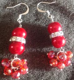 Red glass pearl wire wrapped earrings with red crystal clusters. $11 www.facebook.com/CraftsbyBnB