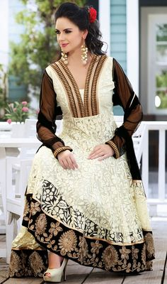 Trendsetter Black/White Embroidered Net Anarkali Suit Price: Usa Dollar $133, British UK Pound £78, Euro98, Canada CA$145 , Indian Rs7182.