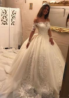 Lace Ball Gowns Princess Luxurious Long Sleeves Bridal Gowns with Boot Beck - Brautkleider Ballkleid - Hochzeitskleid Long Sleeve Bridal Dresses, Off Shoulder Wedding Dress, Wedding Dress Train, Wedding Dresses 2018, Applique Wedding Dress, Wedding Dress Sleeves, Long Sleeve Wedding, White Wedding Dresses, Bridal Gowns