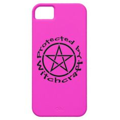 Protected by Witchcraft Pink with Black Pentacle Pagan Wiccan Case by www.cheekywitch.com #zazzle #wicca #wiccan #pagan #witch #iphone #phonecase #iphonecase