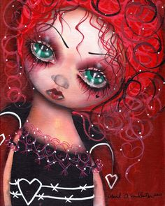 Queen of hearts, alice in wonderland, red hair, red Queen,  Painting ,Abril Andrade , big eyes, pop surrealism, fantasy art , kids room, home decor, creepy, cute, lowbrow art, wall decor, sweet, purple, whimsical ,fantasy