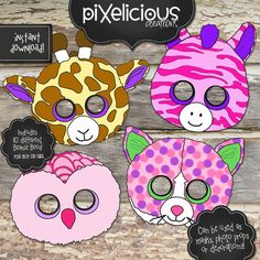 """BEANIE BOO Printable Masks/Photo Props/Decorations - Digital File - Includes 10 different animals by TotallyPixelicious on Etsy. Choose as an add-on to the invitation or if you just want the masks, choose """"Add-on Only"""" in the options dropdown."""