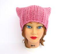 Knit Cat Hat - Petal Pink Pussy Hat - Women's Cat Hat - Chunky Cat Beanie - Wool Blend Hat - Knit Accessories by BettyMarieJones on Etsy