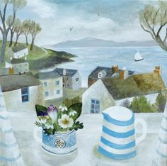 Canns Down Press Card 'Cornish Jug, Garden Flowers' by Sarah Bowman Art And Illustration, Seaside Art, Art Pictures, Photos, Naive Art, Art Graphique, Painting Inspiration, Painting & Drawing, Watercolor Art