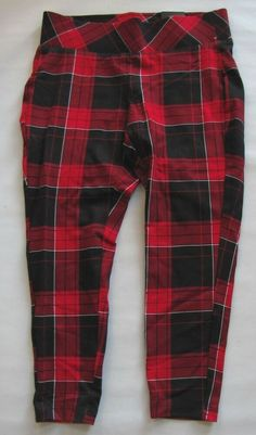 8edd552036d Torrid Leggings Pants size 00 10 Ponte Stretch Knit Pull On Pixie Crop Red  Plaid