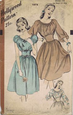 1940s Peasant Style Dress - Hollywood Patterns puff sleeves yoke belt waistline short long knee illustration vintage fashion day wear summer picnic octoberfest ethnic boho gypsy
