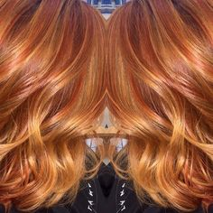 Amazing copper balayage I used Redken color fusion 6c on her roots balayage mid section with 6c 8c shades cream feathering it down towards ends and painted a couple of highlights in between #Redken