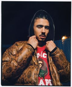 Quincy Brown Rocks Bape x Coach Collaboration Bape Store, Quincy Brown, Gorgeous Black Men, Japanese Streetwear, The Fashionisto, American Spirit, Brown Jacket, Hollywood, 20th Anniversary