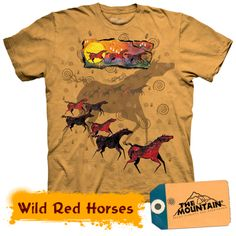 Wild Red Horses « Epic Shirts - A classical beauty of a t-shirt! Not as prominent as other mountain tees, but this is just a nice and good looking one, with a nice reference to horse lovers. Native American T Shirts, Native American Horses, Native American Fashion, Katies Fashion, Horse Galloping, Native Design, Horse T Shirts, Pet Clothes, Unisex Clothes