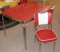 Vintage Red Formica Kitchen Dinette Table Set w/NEW Chairs