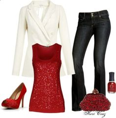 Holiday Party Style Outfit - White Jacket - Red Sequin tank top jeans - red nails and evening bag.