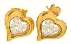 Lot 30 in our Antique & Collectors Sale of 29/05/19, these lovely 18ct gold and diamond heart shape earrings. Estimate 300-400 #diamondsareagirlsbestfriend #mellors&kirk