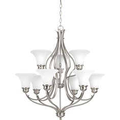 Progress Lighting Trinity 30 In 9 Light Brushed Nickel Etched