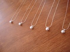 7 Singe Pearl Bridesmaid Necklaces - Ivory, White, Grey, Rose Pink, Black, more colors available - gift under 10 on Etsy, $62.50