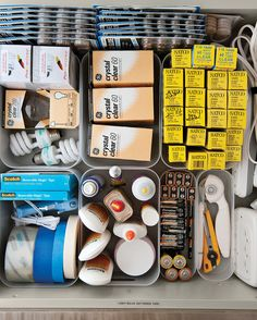 Devote a drawer to the things you need most, such as lightbulbs, batteries, extension cords, and EZ Glide pads (available at hardware stores) for chair legs.