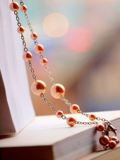 Simply champagne faux pearl long necklace