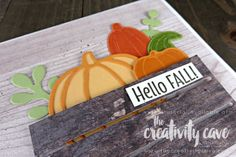 Check out the FaceBook Live Replay and the 4 different cards I created using Stampin Up Products including this adorable card on my blog at www.thecreativity... #stampinup #thecreativitycave #handmadegreetingcards #cardmaking #rubberstamping #woodwordsbundle #woodcrateframelits #pickapumpkin #woodtexturesdsp #fall