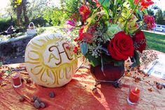 Carve your new monogram into a pumpkin for each table.Photo Credit: Ace…