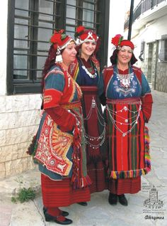 The women's traditional festive costume worn in Drymos (near Thessaloníki, northern Greece). The costume is called 'rintoudia'. Greek Traditional Dress, Traditional Outfits, Albania, Costume Ethnique, Costumes Around The World, International Clothing, Greek Culture, Folk Clothing, Alexander The Great