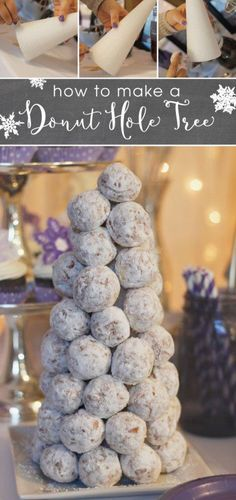Are you hosting a party this winter? Here's the perfect, simple wintery party treat for you to provide for your guests. Put together this donut hole tree in under 5 minutes!