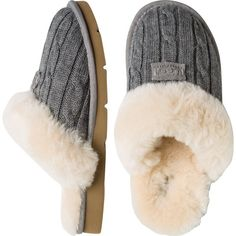 Ugg's® stylish and practical slippers. Chunky cable knit upper. Genuine sheepskin liner and outer that naturally wicks away moisture and helps keep your feet d…