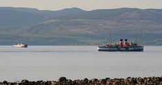 PS WAVERLEY and Arran ferry off Catacol May 2011