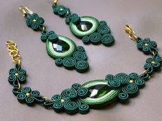 Green power soutache set by JoannaArt77 on Etsy