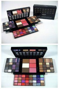 "Nyx Makeup Set Smokey Look Collection #S114 by NYX. $25.90. Kit also contains 3 blushes, face powders,concealers,. lip colors, 12 glitter creams and 1 black eye liner.. Dimensions Compact: 6.75""W x 4""H x 1.25""D. Dimensions Extended: 10.5""W x 7.25""H x 4""D. If you're addicted to smokey eyes, this kitis custom-made for you. It contains a palette of pigmented eye shadowsto create gray smokey eyes, purple smokey eyes, bronze smokey eyes andnatural smokey eyes. Kit also..."