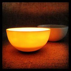 Porcelain bowls for candle lights.
