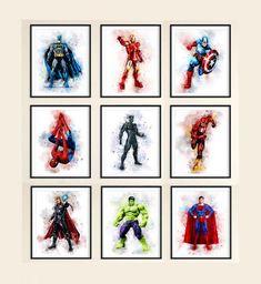 Superhero Printables < Superheroes < Superhero Wall Art < Batman < Spiderman < The Hulk < Superman < Captain Ametica < Set of 6 Superhero Wall Art, Superhero Poster, Avengers Poster, Superhero Cake, The Flash Poster, Iron Man, Hulk, Superman, Batman Spiderman