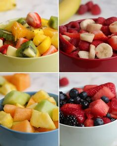 Serves 4-5 (per recipe)Tropical SaladINGREDIENTS2 oranges, peeled and halved12 ounces strawberries, quartered2 mangoes, chopped4 kiwis, peeled and chopped or slicedDressing 3 tablespoons lime juice1 tablespoon maple syrupPREPARATION# Combine all the ingredients above in a large bowl.# Mix the dressing ingredients together and spread over fruit, mix well.Banana BerryINGREDIENTS3 bananas, sliced12 ounces strawberries, quartered12 ounces raspberriesPREPARATION# Combine all the ingredients…
