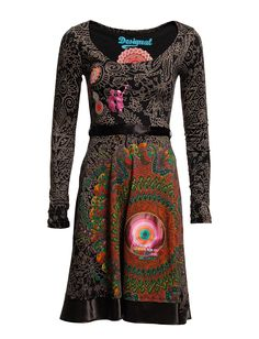 VEST_MIMI REP - Whirls of colour saturate this seasonless dress from Desigual featuring a matching waist sash and hem to complete this style.   *Boat neckline  *Long sleeves  *Self-tie waist