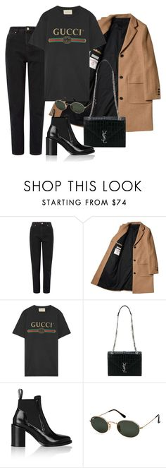"""Untitled #3898"" by camilae97 ❤ liked on Polyvore featuring Miss Selfridge, Gucci, Yves Saint Laurent, Paco Rabanne and Ray-Ban"