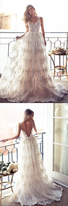 Full Lace Open Back Wedding Dresses Sexy Spaghetti Straps Wedding Gowns #prom #dresses #longpromdress #promdress #eveningdress #promdresses #partydresses #2018promdresses #weddingdresses