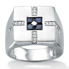 Men's Blue Sapphire Sterling Silver Men's Engagement Ring