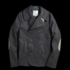 Waxed Canvas Pea Coat with Arm Patches. Men's Fall winter Fashion.